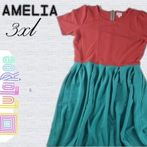 NWT LuLaRoe Red & Green Amelia Dress